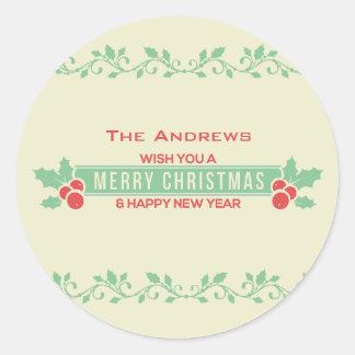 Röda och Mintgod jul skräddarsy klistermärkear Runt Klistermärke