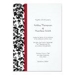 Röda och svart damastast bröllopinbjudningar anpassade inbjudan