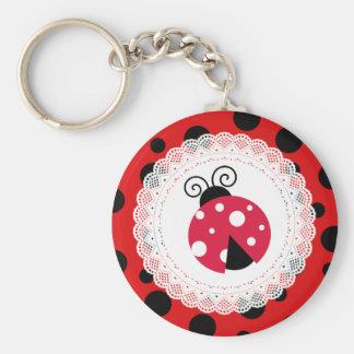 Röda och svart Keychain för gullig nyckelpiga Rund Nyckelring