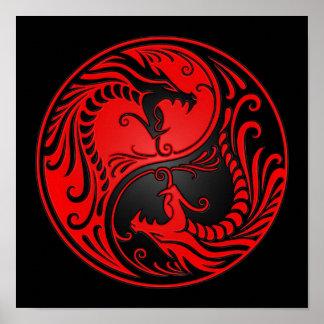 Röda och svart Yin Yang drakar Poster