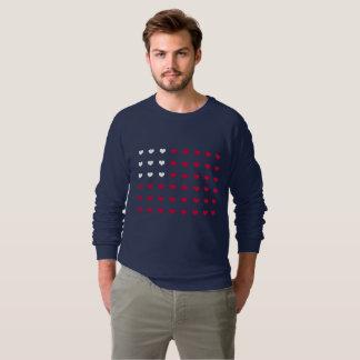Röda och vithjärtor som inspireras av amerikanska t-shirt