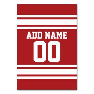 Röda och vitrandar med namn och numrerar bordsnummer