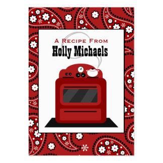 Röda Paisley & Retro ugnreceptkort Visitkort Mallar