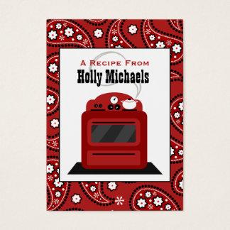 Röda Paisley & Retro ugnreceptkort Visitkort