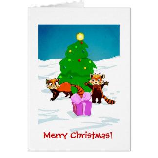 Röda Pandas för god jul Hälsningskort