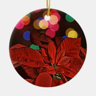 Röda Pointsettia och ljust färgadljus Julgransprydnad Keramik