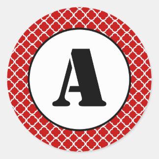 Röda Quatrefoil - cirkla klistermärken