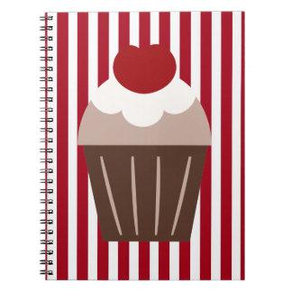 Röda randar för KRW och brun muffinanteckningsbok Spiralbundna Anteckningsböcker
