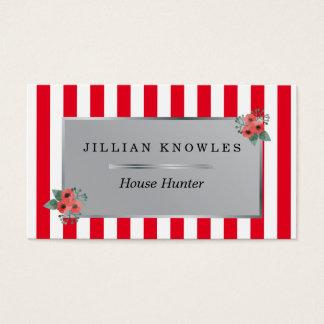Röda randar någon blom- husjägare för färg visitkort