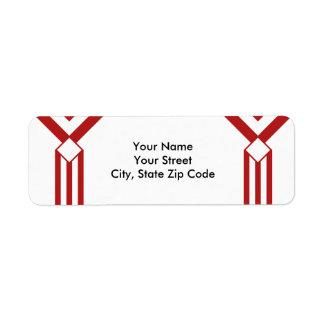 Röda randar och sparrar på vitadressetikett returadress etikett