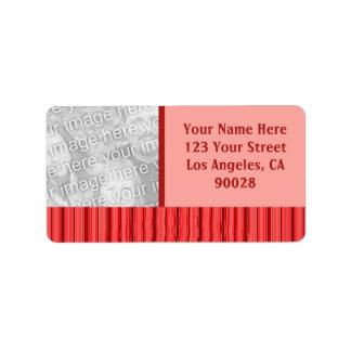 röda randar och vinkar adressetikett