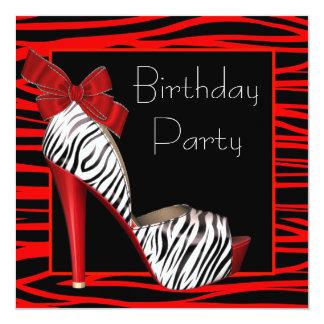 Röda sebrafödelsedagsfest inbjudan