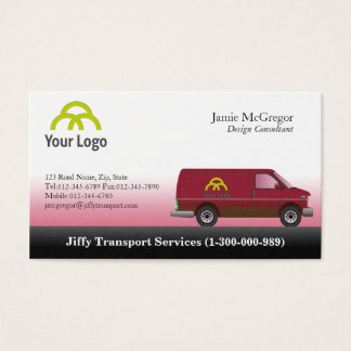 Röda skåpbilvisitkortar för transport visitkort