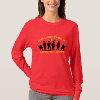 Röda skjortafredagar stöttar vår soldatlångärmad t shirt
