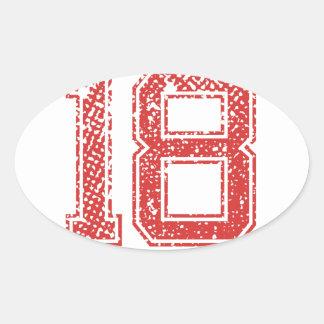 Röda sportar Jerzee numrerar 18 Ovalt Klistermärke
