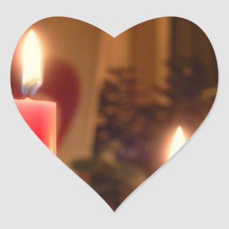 Röda stearinljus för jul hjärtformat klistermärke