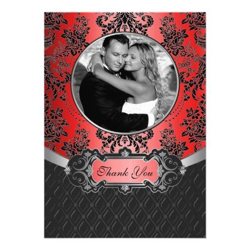 Röda & svart damastast kort för bröllopfototack skräddarsydda inbjudan