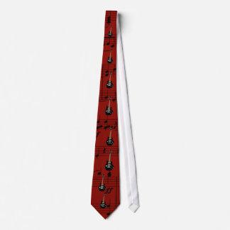 Röda svart elektriska gitarrer slips