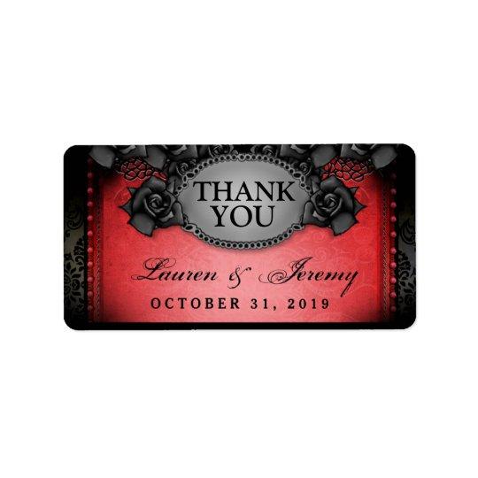 Röda & svart etiketter för Halloween brölloptack Adressetikett
