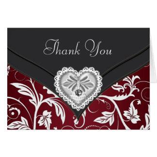 Röda svart kort för tack för silverdiamanthjärta