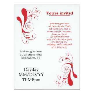 Röda Swirly generiska inbjudningar för några