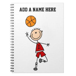Röda t-skjortor och gåvor för pojkebasketspelare anteckningsbok