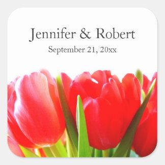 Röda tulpan som gifta sig klistermärken