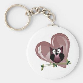 Röda uggla- och hjärtavalentin gåvor rund nyckelring