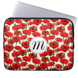 Röda vallmor blommönster & Monogram Laptop Sleeve