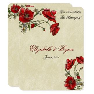 Röda vallmor, elegant bröllopinbjudan 10,8 x 14 cm inbjudningskort