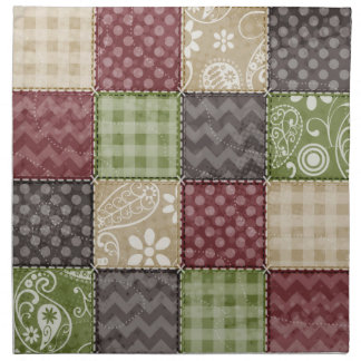 Rödbrun, brun, solbränd & grön täckeLook Tygservett