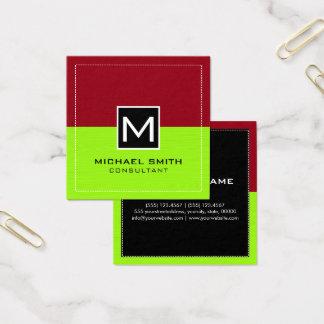 Rödbrun modern limefrukt för yrkesmässig Monogram Fyrkantigt Visitkort