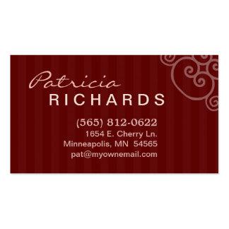 Rödbrun röd randig personlig visitkort