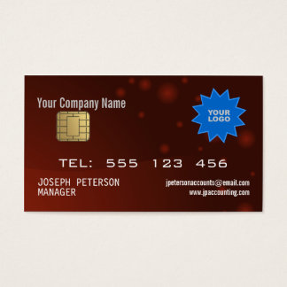 Rödbrun visitkort för Sparkly kreditkort