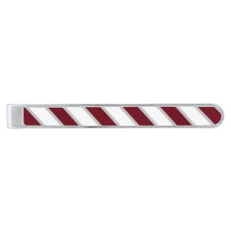 Rödbruna grå färg görad randig silver pläterad slipsnål med silverfinish
