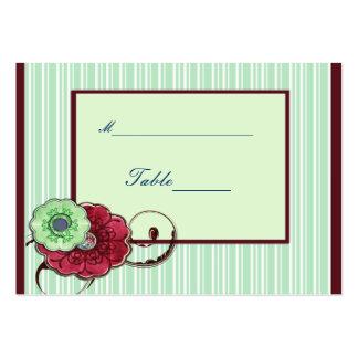 Rödbruna och gröna blommor med virvlar runt set av breda visitkort