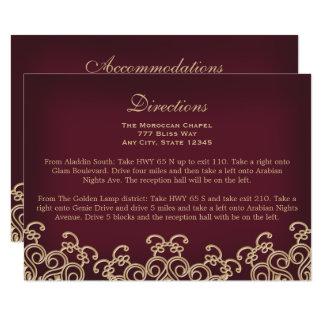 Rödbrunt guld- marockanskt riktningsboende 8,9 x 12,7 cm inbjudningskort