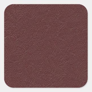 Rödbrunt läder fyrkantigt klistermärke