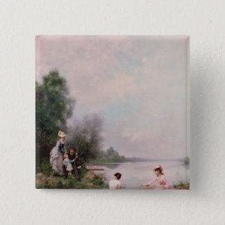 Rodd på floden, 19th århundrade standard kanpp fyrkantig 5.1 cm