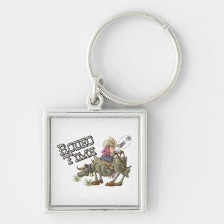 Rodeo Time Fyrkantig Silverfärgad Nyckelring