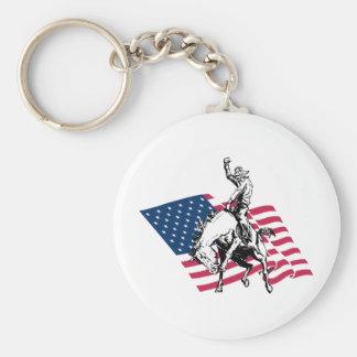 Rodeo USA - Amerika, Cowboyhäst och flagga Rund Nyckelring