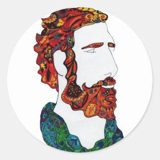 Rödhårig hipsterdude runt klistermärke
