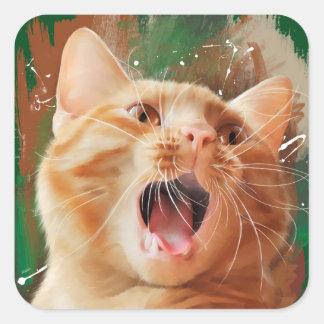 Rödhårig kattunge fyrkantigt klistermärke