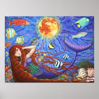 Rödhårigsjöjungfru i korsett med månen och fisken poster