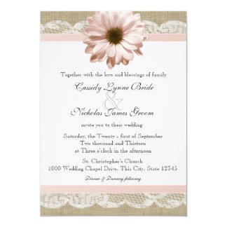 Rodna bröllop för för daisylandsnöre och Burlap 12,7 X 17,8 Cm Inbjudningskort