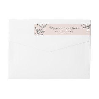 Rodna lantligt kuvert för Monogramkraninbjudan Etikettband