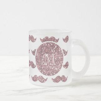 Rodna mönster för rosaglittermustasch din Monogram Kaffe Mugg