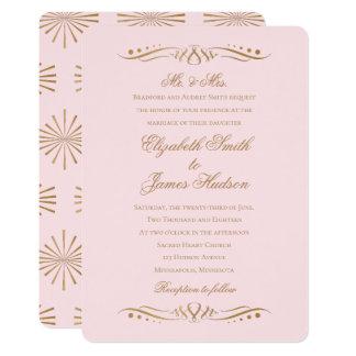 Rodna och guld- bröllopinbjudan för 12,7 x 17,8 cm inbjudningskort
