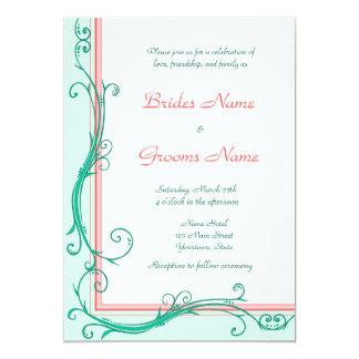 Rodna persika- & Mintbröllopinbjudan 12,7 X 17,8 Cm Inbjudningskort