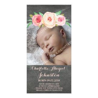 Rodna rosa svart tavlatackbaby shower fotokort